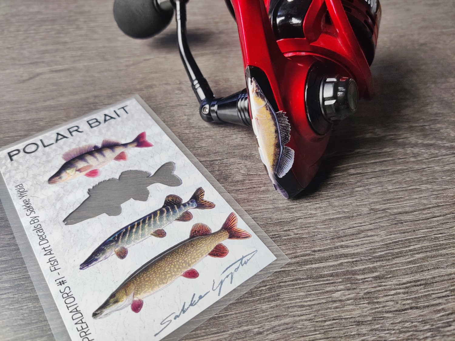 Universal Decals on a Fishing Reel