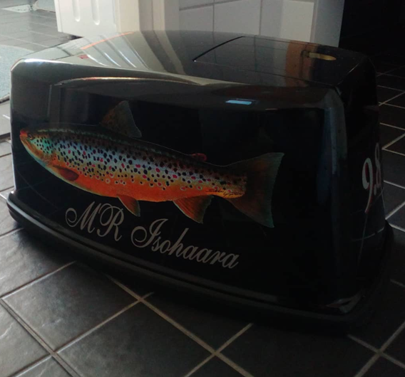 Boat engine decorated with River Trout Lure Sticker